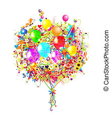 ilustracja, urodziny, projektować, balony, twój, szczęśliwy