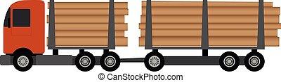 ilustracja, wózek, wyróbka, ładunek, wektor