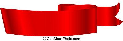 ilustracja, wektor, czerwona wstążka
