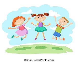 ilustracja, wektor, dzieciaki, razem, skokowy, wtykać