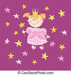 ilustracja, wektor, gwiazdy, dziewczyna, księżna, koźlę