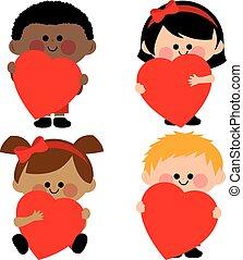 ilustracja, wektor, hearts., dzierżawa, dzieci, czerwony
