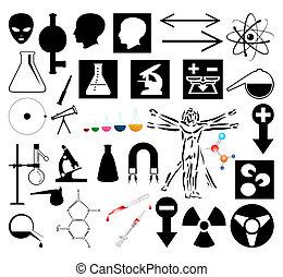 ilustracja, wektor, pictures., naukowy, zbiór