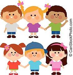 ilustracja, wektor, rozmaity, hands., grupa, dzierżawa, dzieci
