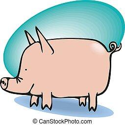 ilustracja, wektor, zabawny, świnia, cielna