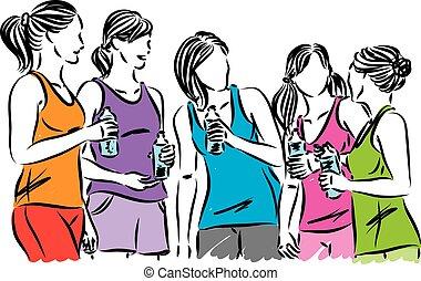 ilustracja, woda, wektor, butelka, stosowność, biegacze, kobiety