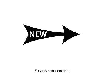 ilustracja, znak, nowy, słowo, wektor, strzała