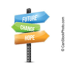 ilustracja, znak, projektować, zmiana, przyszłość, nadzieja