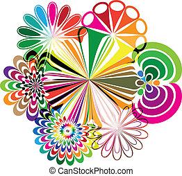 ilustracje, abstrakcyjny, kwiaty