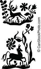 ilustracje, koń, wektor, jeleń