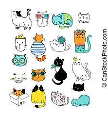 ilustracje, wektor, doodles, zbiór, kot