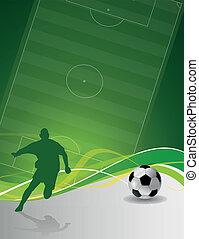 ilustrowany, gracz, piłka do gry w nogę