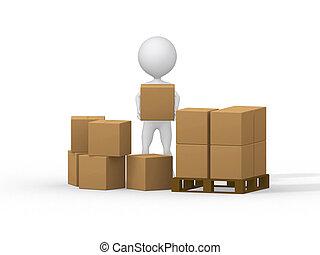 image., ludzie, boxes., transport, mały, tektura, 3d