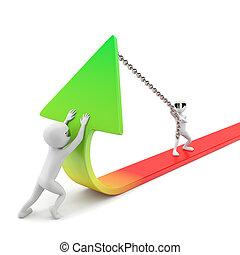 improvement!, statystyka, image., ludzie, -, tło., mały, biały, 3d