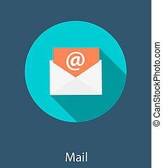 inbox, ilustracja, wektor, poczta, płaski, pojęcie