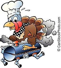 indyk, grill, dziękczynienie, ilustracja, mistrz kucharski, wektor, jeżdżenie, baryłka, rysunek, bbq