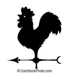 indykator, starożytny, image., kształt, wektor, wiatr, vane., rooster.