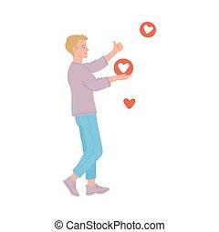influencer, upodobania, wektor, isolated., ilustracja, płaski, towarzyski, dostając, media, człowiek