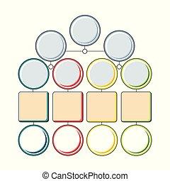 infograhics, pomnożyć, skwer, szablon, opcje, barwny, koło, drzewo, elements., kroki