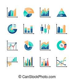 infographic, elementy, dane, handlowy, targ