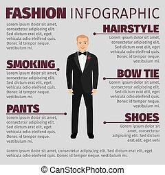 infographic, garnitur, fason, człowiek, ślub
