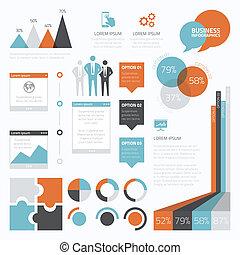 infographic, komplet, e, retro, handlowy
