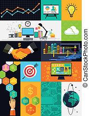 infographic, płaski, płatowaty, -, ilustracja, symbolika, wektor, projektować, icons.