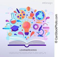 infographic, pojęcie, wykształcenie, banner.
