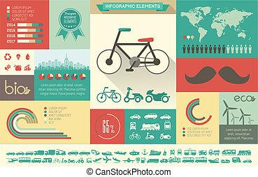 infographic, przewóz, template.