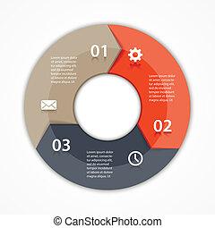 infographic, strzały, diagram, 3, wektor, koło, opcje