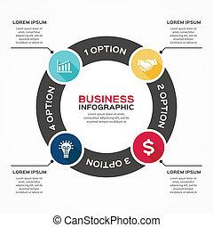 infographic, strzały, diagram, wektor, 4, koło, opcje
