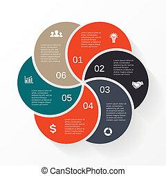 infographic, strzały, diagram, wektor, 6, koło, opcje