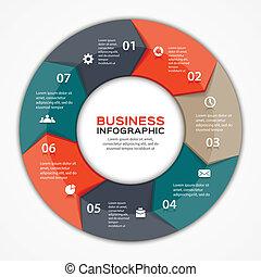 infographic, strzały, diagram, wektor, 7, koło, opcje