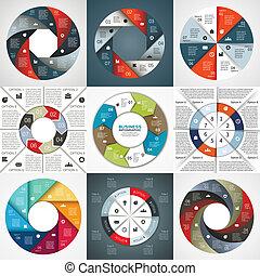 infographic, strzały, diagram, wektor, 8, koło, opcje