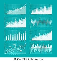 infographic, wykresy, elementy, wykresy, handlowy