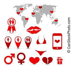 infographics, elementy, projektować, dzień, valentine