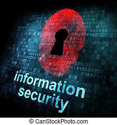 informacja, ekran, cyfrowy, bezpieczeństwo, odcisk palca