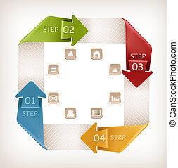 informacja, icons., wektor, projektować, ilustracja, grafika, chorągiew, template., retro
