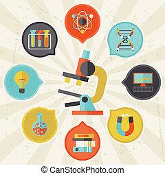 informacja, płaski, pojęcie, nauka, graficzny zamiar, style.