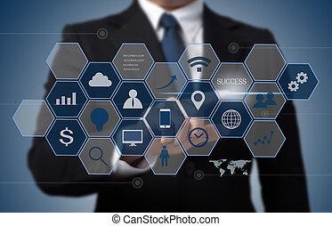 informacja, pojęcie, handlowy, pracujący, nowoczesny, komputer, interfejs, technologia, człowiek