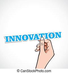 innowacja, słowo, ręka