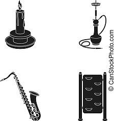 inny, przeszkoda, czarnoskóry, ikona, sieć, komplet, collection., style., saksofon, nargile, ikony, świeca