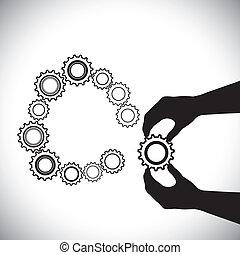 inny, ręka, hand(person), to, zawiera, dodany, istota, osoba, completion-vector, team(group), wstąpić, porcja, koło zębate, graphic., koło, koła zębate, ilustracja