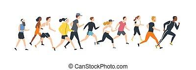 inny., race., wypadek, maraton, ubrany, odizolowany, lekkoatletyka, tło., uczestnicy, biały, outrun, płaski, mężczyźni, wyścigi, litery, trudny, rysunek, kobiety, illustration., wektor, każdy, atletyka, odzież
