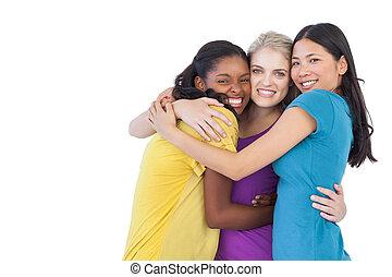 inny, rozmaity, każdy, obejmowanie, kobiety, młody