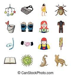 inny, rzeka, ikona, rysunek, sieć, zwierzę, turystyka, kot, komplet, collection., style., ryś, ikony, rozrywka