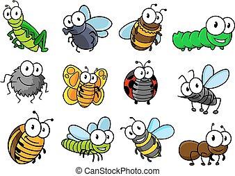 insekty, komplet, litery, barwny, rysunek