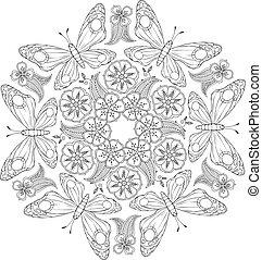 inspired., motyle, zenart, flowers., mendie, monochromia, mandala