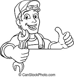 instalator, majster do wszystkiego, szarpnąć, mechanik, klucz do nakrętek, rysunek