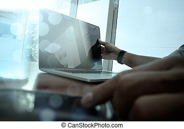 instalator, pojęcie, handlowy, pracujący, nowoczesny, skutek, ręka, cyfrowy, biznesmen, strategia, technologia